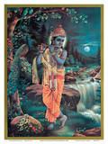Lord Krishna The Enchanter - God of Love Playing his Flute Láminas