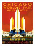 Chicago World's Fair - A Century of Progress, 1833-1933 Gicléetryck