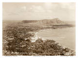 Waikiki Area and Diamond Head Crater - Honolulu, T.H. Territory of Hawaii Kunstdrucke