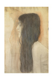 Girl with Long Hair in Profile Giclee Print by Gustav Klimt