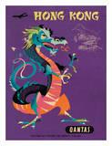 Hong Kong - Qantas Airways - Chinese Treasure Dragon Giclée-Druck von Harry Rogers