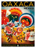 Oaxaca, Mexico - Costumed Native Dancers Posters by Miguel Covarrubias