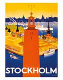 Stockholm - Sweden - Port of Stockholm and City Hall Giclée-tryk af Iwar Donner