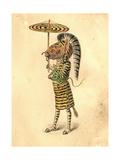 Zebra 1873 'Missing Links' Parade Costume Design Giclée-tryk af Charles Briton