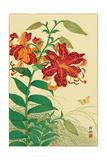 Tiger Lilies and Butterfly Giclée-Druck von Koson Ohara
