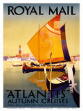 Atlantis Autumn Cruises - Royal Mail Ltd. Print by Percy Padden