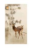 Two Deer, Pine and Moon Giclée-tryk af Koson Ohara
