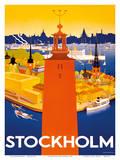 Stockholm - Sweden - Port of Stockholm and City Hall Posters por Iwar Donner