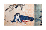 Reclining Beauty and Cat Giclée-tryk af Kyosai Kawanabe