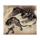 Dragon and Tiger Giclée-tryk af Kyosai Kawanabe