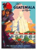 Guatemala by Clipper - Pan American World Airways - Tikal Mayan Posters