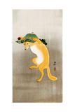 Dancing Fox with Lotus-Leaf Hat Giclée-tryk af Koson Ohara