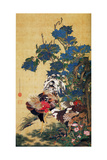 Rooster, Hen and Hydrangea Giclée-tryk af Jakuchu Ito