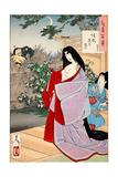 A Glimpse of the Moon - Kaoyo, One Hundred Aspects of the Moon Giclée-tryk af Yoshitoshi Tsukioka