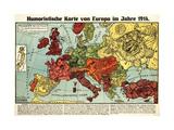 Satirical Map - Humoristische Karte Von Europa Im Jahre 1914 Giclée-tryk af K. Lehmann-Dumont