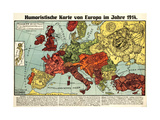 Satirical Map - Humoristische Karte Von Europa Im Jahre 1914 Lámina giclée por K. Lehmann-Dumont