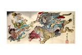 Shoki Riding on a Tiger Chasing Demons Away, Titled Satsuki Giclée-Druck von Kyosai Kawanabe