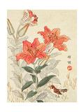 Sparrow and Tiger Lilies Reproduction procédé giclée par Bairei Kono
