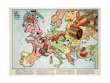Satirical Map - Hark! Hark! the Dogs Do Bark! 1914 Lámina giclée por Walter Emanuel