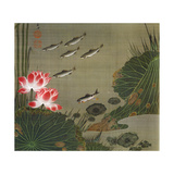 A Shoal of Trout and Lotus Giclée-tryk af Jakuchu Ito