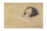 Reclining Girl and Two Studies of Hands Giclée-Druck von Gustav Klimt