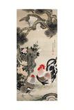 Rooster, Hen and a Falcon Reproduction procédé giclée par Jakuchu Ito