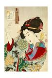 Thirty-Two Daily Scenes: 'Looks Embarrassed', Mannerisms of a Nagoya Girl Giclée-Druck von Yoshitoshi Tsukioka