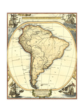 Nautical Map of South America Premium Giclee-trykk av  Vision Studio