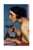 La Mujer De La Pistola 1925-Cartel Para La Union Española De Explosivos Giclée-Druck von Julio Romero de Torres
