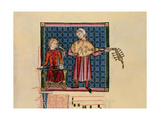 Cantigas De Santa Maria -Codice De Los Musicos, Rabel Y Laud Arabigo Giclée-tryk af  Alfonso X
