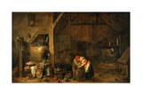 The Old Man and the Maid, C. 1650 Giclée-tryk af David Teniers the Younger
