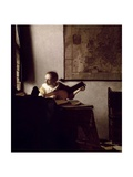 The Lute Player, 1663-1664 Gicléedruk van Johannes Vermeer