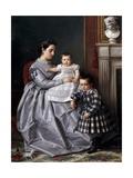 Retrato De La Familia Del Pintor, 1864-1865 Gicléedruk van Victor Manzano Y Mejorada