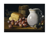 Still Life with Plums, Figs, Bread and Fish Impressão giclée por Luis Egidio Meléndez