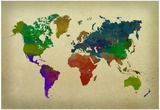 World Map Watercolor Affiche