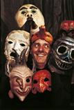 Portrait of Dario Fo with Masks Fotografie-Druck