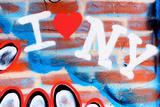 I Love New York Graffiti on a Red Brick Wall, Manhattan, New Yor Fotografisk trykk av Sabine Jacobs