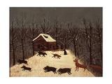Hunting (Winter with Dogs) Kunstdrucke von Louis Vivin