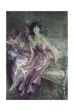 Woman in Rose, Olivia De Subercaseaux Concha Posters af Giovanni Boldini