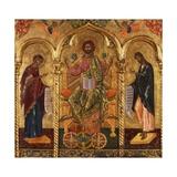 Christ Pantocrator, Virgin and St. John Metalltrykk av Onufri Qiprioti