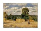 Harvest at Montfoucault Affiches par Camille Pissarro