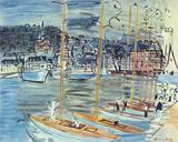 Les Bateaux Giclee-trykk av Raoul Dufy