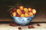 Bowl of Cherries and Peaches Giclee Print by Mimi Roberts