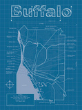 Buffalo Artistic Blueprint Map Kunstdrucke von Christopher Estes
