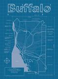 Buffalo Artistic Blueprint Map Arte di Christopher Estes