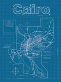 Cairo Artistic Blueprint Map Posters af Christopher Estes