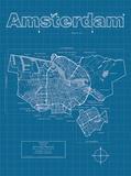 Amsterdam Artistic Blueprint Map Poster von Christopher Estes