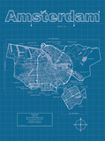 Amsterdam Artistic Blueprint Map Prints by Christopher Estes