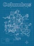 Columbus Artistic Blueprint Map Poster di Christopher Estes