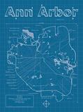 Ann Arbor Artistic Blueprint Map Poster by Christopher Estes